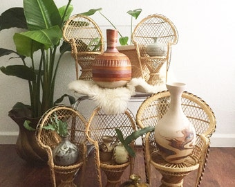 "SALE / 16"" vintage wicker peacock chair planter / plant stand / doll chair / boho chic"
