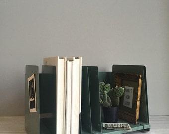 adjustable vintage industrial metal office desk top paper file / storage / sorter / mail