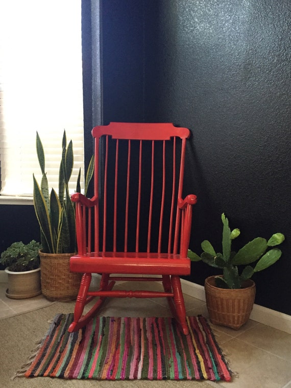 vintage large modern large wooden red rocking chair / spindle backing / windsor chair / only pickup or local delivery