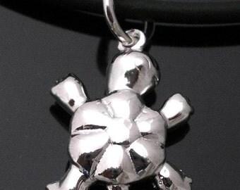 Cute Little Turtle Sterling Silver Charm