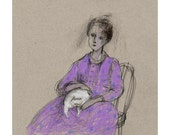 Woman with Cat drawing original people illustration figurative portrait