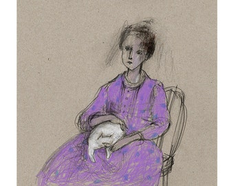Woman with Cat drawing original people illustration figurative portrait