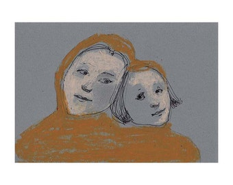 Mother Daughter original drawing woman child people figurative