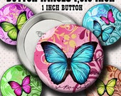 INSTANT DOWNLOAD New Colorful Butterflies (775) Button Size Images 1,313 Inch ( 1 inch Button) Digital Collage Sheet for Badges Buttons  ...
