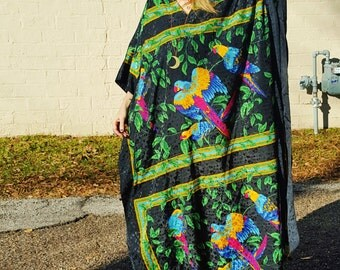 tropical parrot bird print bohemian black magic woman kaftan maxi caftan resort wear vacation maternity chic batwing flowy gown hippie witch