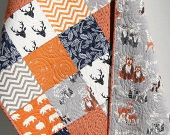 Baby Quilt, Boy, Orange Navy Blue Gray, Elk Deer, Woodlands, Birch Forest, Modern Blanket, Bear Aztec, Crib Bedding, Children Toddler Quilt