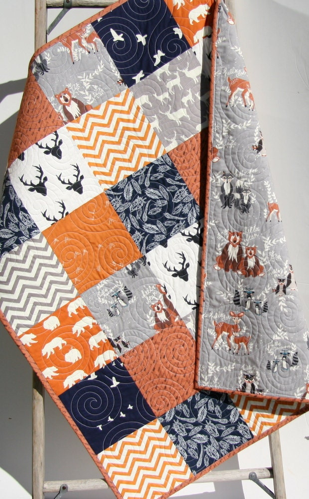 Baby Quilt Boy Orange Navy Blue Gray Elk Deer Woodlands