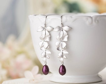 Silver Flower Dangle Earrings Bridal Earrings Plum Eggplant Purple Wedding Teardrop Pearl Earrings Swarovski Blackberry Pearl Earrings