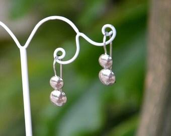 Sterling Silver Dangle Earrings, Drop Earrings, Domed Circles Earrings, Shiny Polished, Handmade