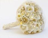 Brooch bouquet gold bridal bouquet brooch gold rhinestone bouquet crystal bouquet wedding broach bouquet bridal cascade bouquet gold bouquet