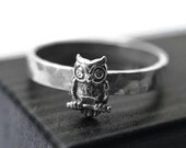 Sterling Silver Owl Ring, Customized Owl Jewelry, Silver Bird Ring, Bird Jewelry, Engraved Ring, Animal Jewelry, Custom Engraving