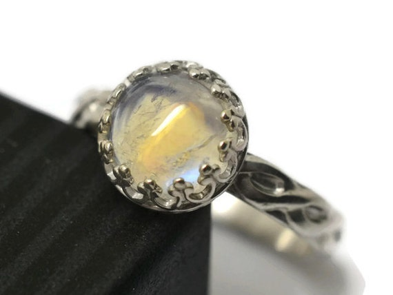 Celtic Rainbow Moonstone Ring Custom Engraved White by ...