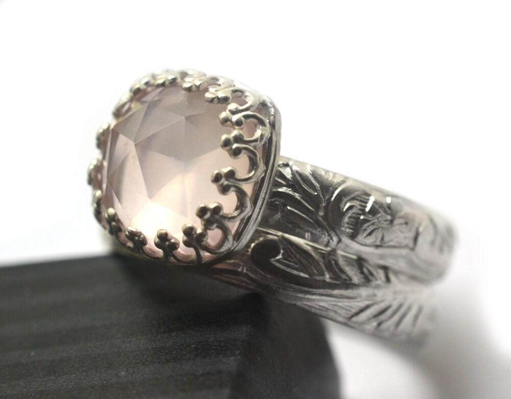 Rose Quartz Wedding Set Rose Quartz Engagement Ring Custom
