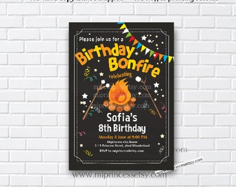 Bonfire Birthday Invitation, Campfire Birthday Invitation, Campout Birthday Invitation, kids bonfire party, 8th 9th 10th 30th any age - 881
