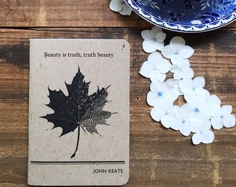 John Keats Literary Notebook, Lined Writing Journal, Literary Quotes, Mens Gift for Him,  Student Gift English Major