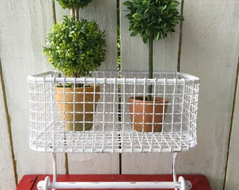 Chippy White, Shabby Chic Wire Basket , Lotion Holder , Wall Basket , Towel Bar ,Hand Towel Holder, Pink Peonies, Shabby Chic Iron ,