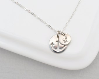Personalized Silver Anchor Necklace, Monogrammed Initial Charm Anchor Necklace, Bridesmaid Jewelry, Nautical Theme, Navy Sailors Anchor