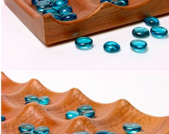 "Large Solid Cherry Wood Deluxe Mancala 24""L x 6W"" x 1""D  - Wooden Game, Paul Szewc, Masterpiece Gallery"