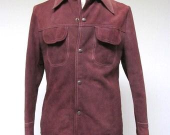 Vintage 1970s Jacket / 70s Mens Brown Suede Snap Shirt / 40 Chest / Medium