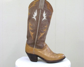 Vintage 1980s Cowboy Boots / 80s Tan Roughout Leather Inlay Western Boots / Womens Size 5 1/2 B US