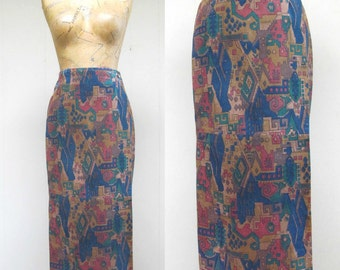Vintage 1980s Skirt / 80s Suede Southwestern Pencil Skirt / Small