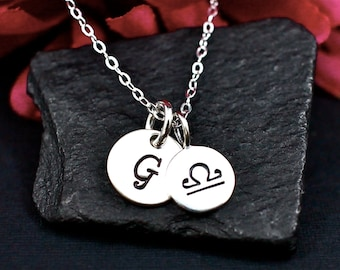 Libra Necklace Sterling Silver | Libra Necklace with Hand Stamped Initial | Libra Zodiak Necklace | Libra Sign | Initial Necklace