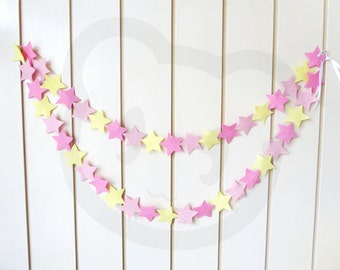 Pink-Lemonade Felt Garland Stars - made with wool blend felt in pink and lemon colours, perfect for baby room or celebrations