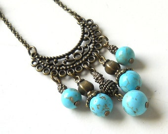 bohemian turquoise necklace gypsy necklace gemstone necklace stone necklace bohemian jewelry boho necklace turquoise gypsy necklace