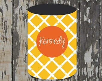 BAMBOO monogrammed can coolie, personalized coolie, beer coolie, bottle coolie - weddings, bachelorette, birthday, beach, patio, pool