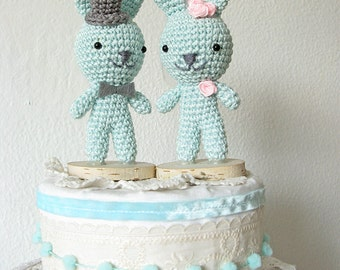 Bunny Cake Topper, Cute Cake Topper, Crochet Bunny, Wedding Rabbit Cake Topper