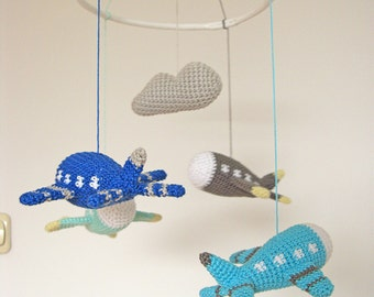 Airplane Baby Mobile, Crochet Airplane, Aviation Baby Mobile, Airplane Nursery, Plane Mobile