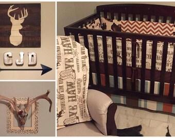 Rustic Western Crib Bedding, Modern Western Nursery, Cow Print Bumper, Striped Western Skirt, Bumperless Western Bedding
