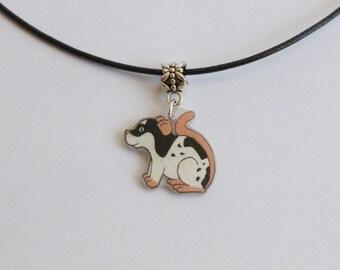 Fancy Rat Necklace Black Variegated  Pet Rat Mouse Pendant