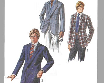 Simplicity 8900 Men's 70s Lined Jacket Sewing Pattern Chest 38