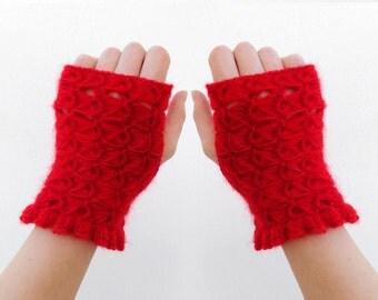 SALE. Red Knit fingerless gloves, Arm Wrist Warmers, Arm warmers, driving gloves, fashion gloves, wrist warmers, stulpen fingerlos häkeln
