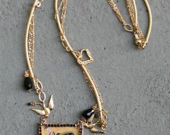 Large Frida Kahlo Pendant Necklace  - Crystal - Gold - Sterling - Leather