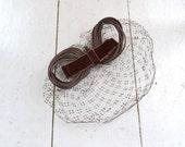 1950s Brown Velvet Bow and Netting Whimsy Hat