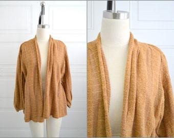 1980s Caramel Poet Sleeve Cardigan Sweater