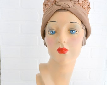 1940s Marilyn Tan Straw Toque Hat