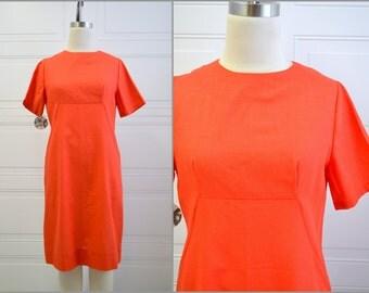 1960s Orange A-Line Shift Dress