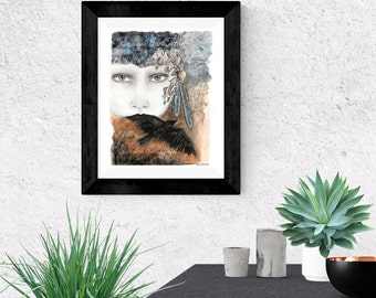 Giclée Art Print - Mixed Media - Raven Art -  By Rachael Caringella  Tree Talker Art