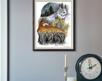 Giclée Art Print - Fox Watercolor Art-  Mixed Media - By Rachael Caringella Tree Talker Art