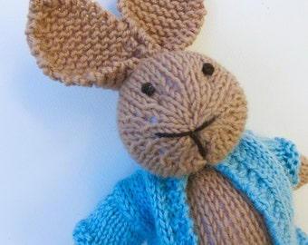 Bunny Rabbit Toy named Peter, Hand Knitted with a Blue Jacket