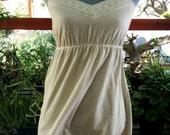 SALE Vintage light gray spaghetti strap babydoll tank top boho cotton blouse with lace. Size M EU 38