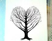 Tree of life art, Heart tree drawing,  ink Heart painting, ink tree painting, heart illustration, black and white tree art original art