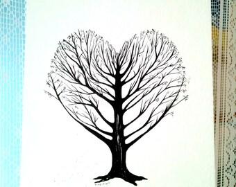 coeur arbre dessin l 39 encre art de l 39 arbre de vie. Black Bedroom Furniture Sets. Home Design Ideas