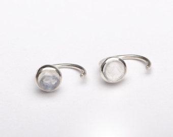 Moonstone Hug Hoops, Sterling Silver & Gold Plated, Gemstone Earrings, Open Hoops, Minimalist Jewelry, Wedding Earrings, Hand Made, EAR041MS