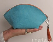 Zipper pouch / leather bag organizer / leather cosmetic bag WEDGE in turquoise cow leather and orange detailing