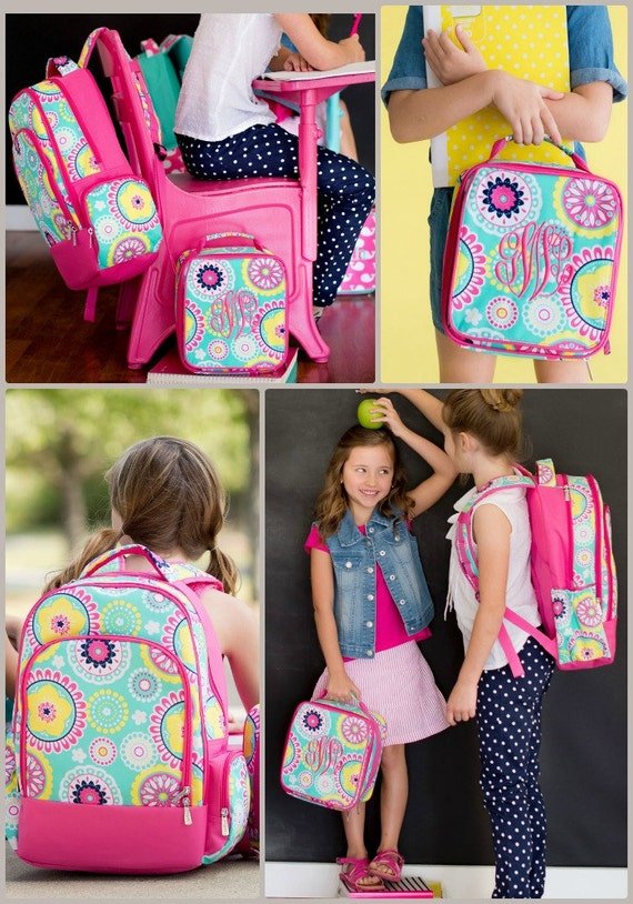 Girls Pretty Piper Monogrammed Backpack and Lunchbox
