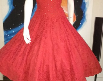 1950's Red SPIDER WEB and Rhinestones Lace Circle Skirt Party Dress Cobweb Holiday Shelf Bust 28 waist Medium Rockabilly VlV